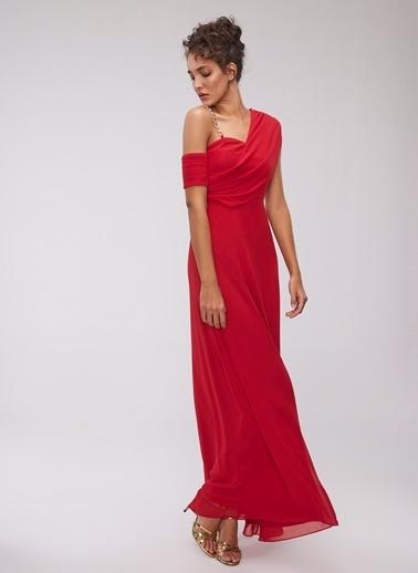 People By Fabrika Zincirli Abiye Elbise Kırmızı